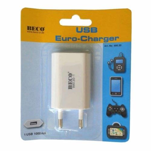 USB oplader 1000mA (1x USB-A)