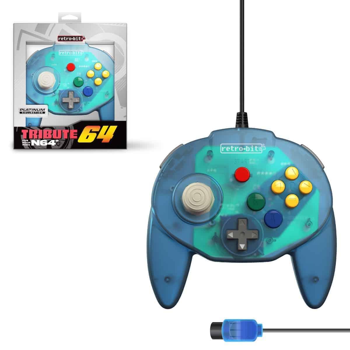 Retro-Bit Tribute 64 Ocean Blue Nintendo 64 Controller