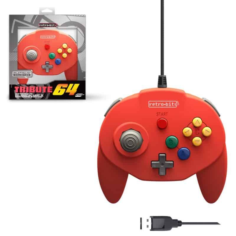 Retro-Bit Tribute 64 Red USB Controller